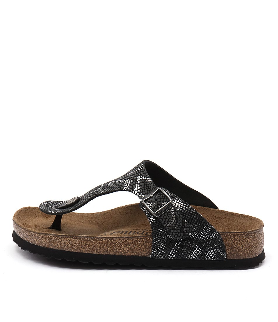 Papillio By Birkenstock Gizeh Black Python Casual Flat Sandals