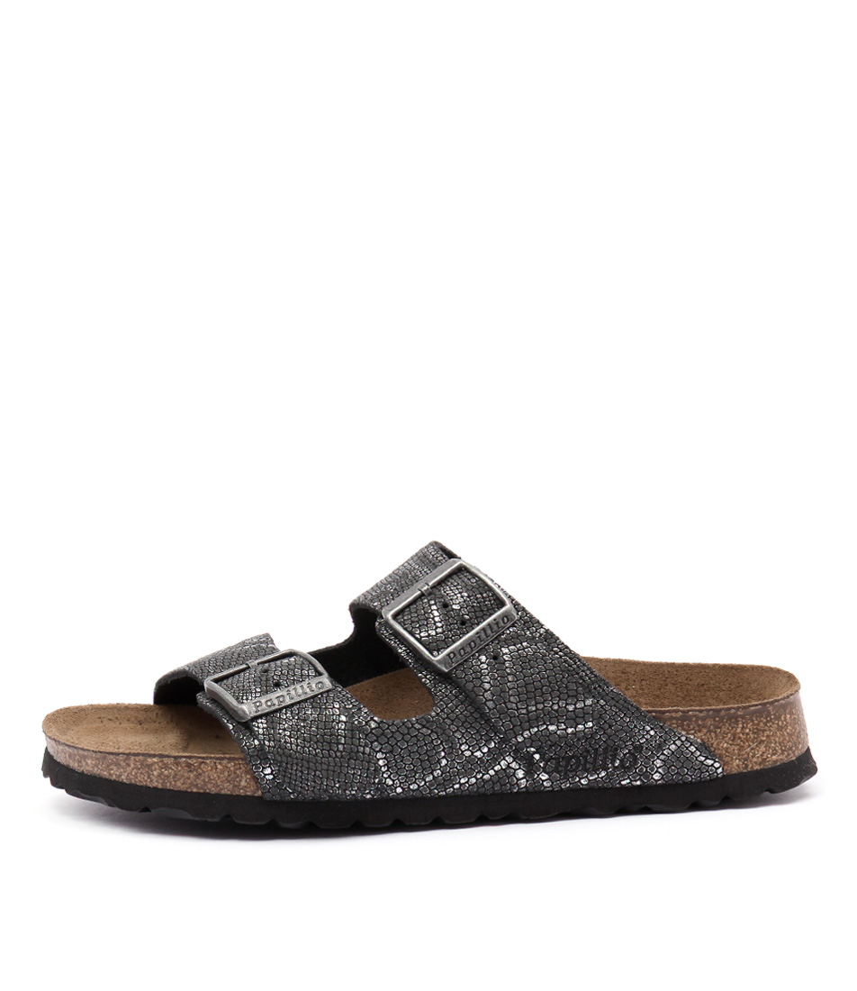 Papillio By Birkenstock Arizona Black Python Casual Flat Sandals