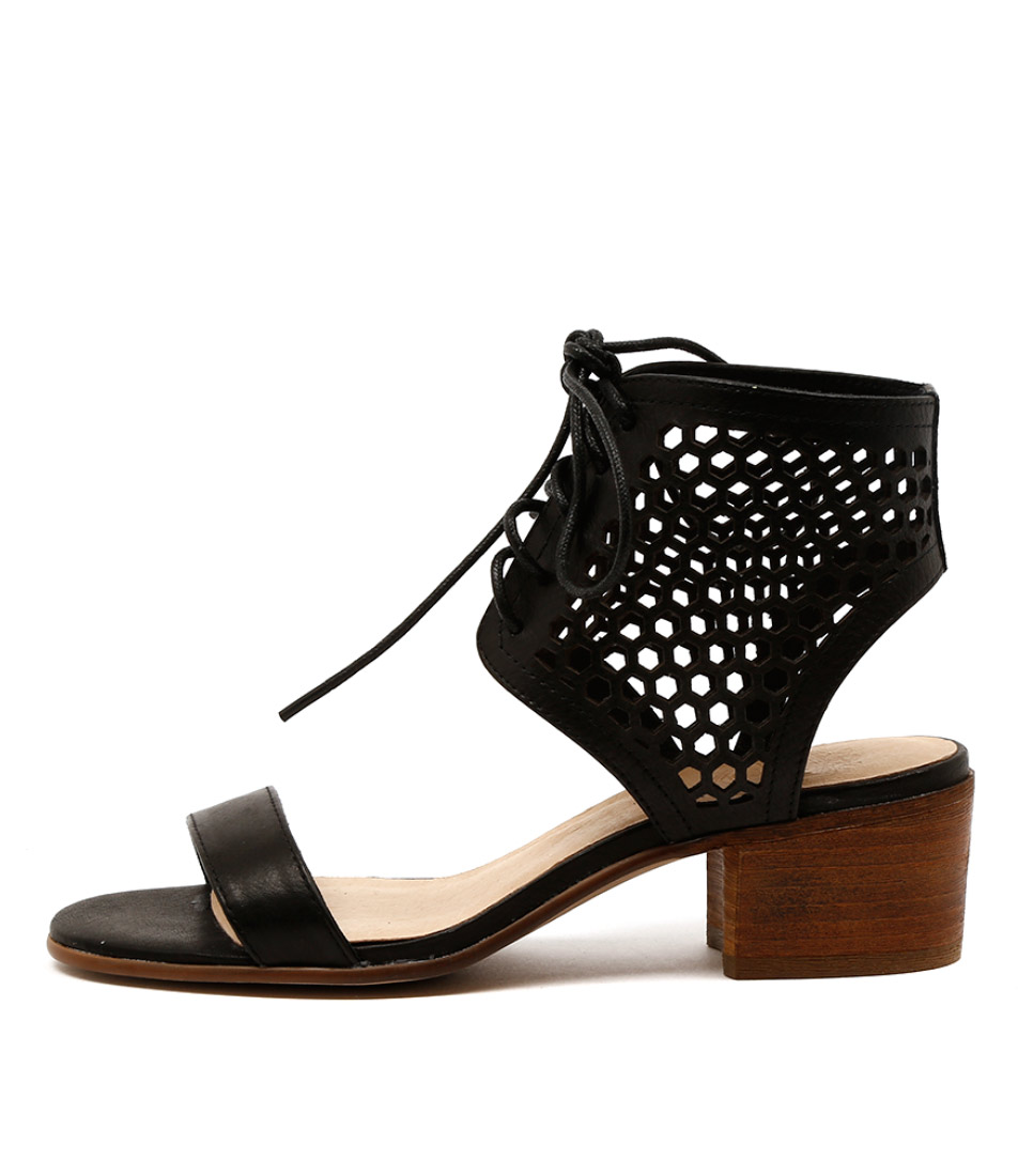 Silent D Pezza Black Casual Heeled Sandals