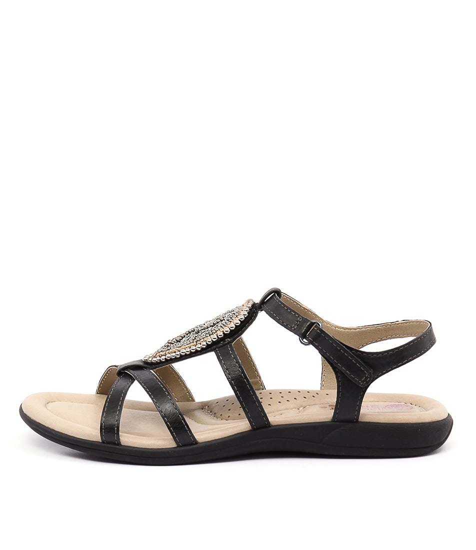 Planet Casia Black Casual Flat Sandals
