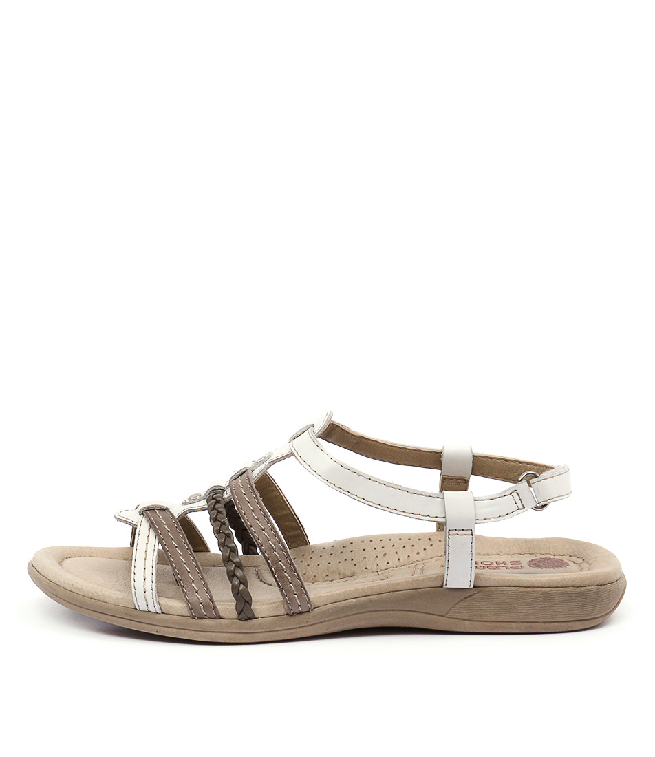 Planet Celina White Taupe Casual Flat Sandals