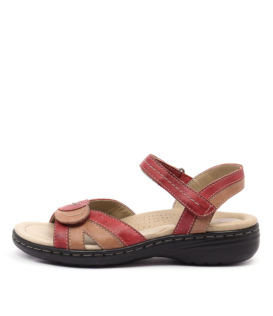 Planet Ema Red Multi Casual Heeled Sandals