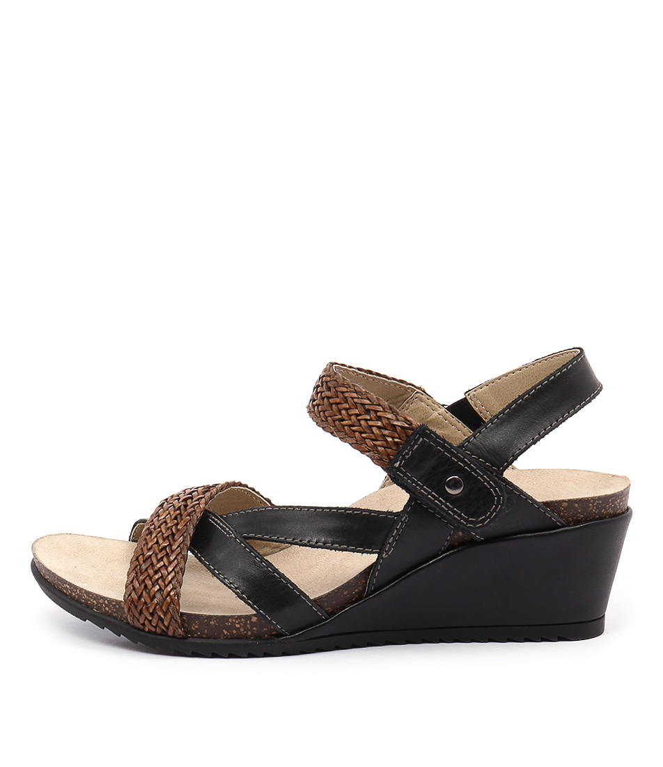 Planet Paloma Pl Black Alpaca Casual Heeled Sandals