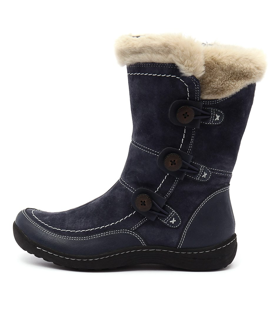 Planet Torn Navy Calf Boots