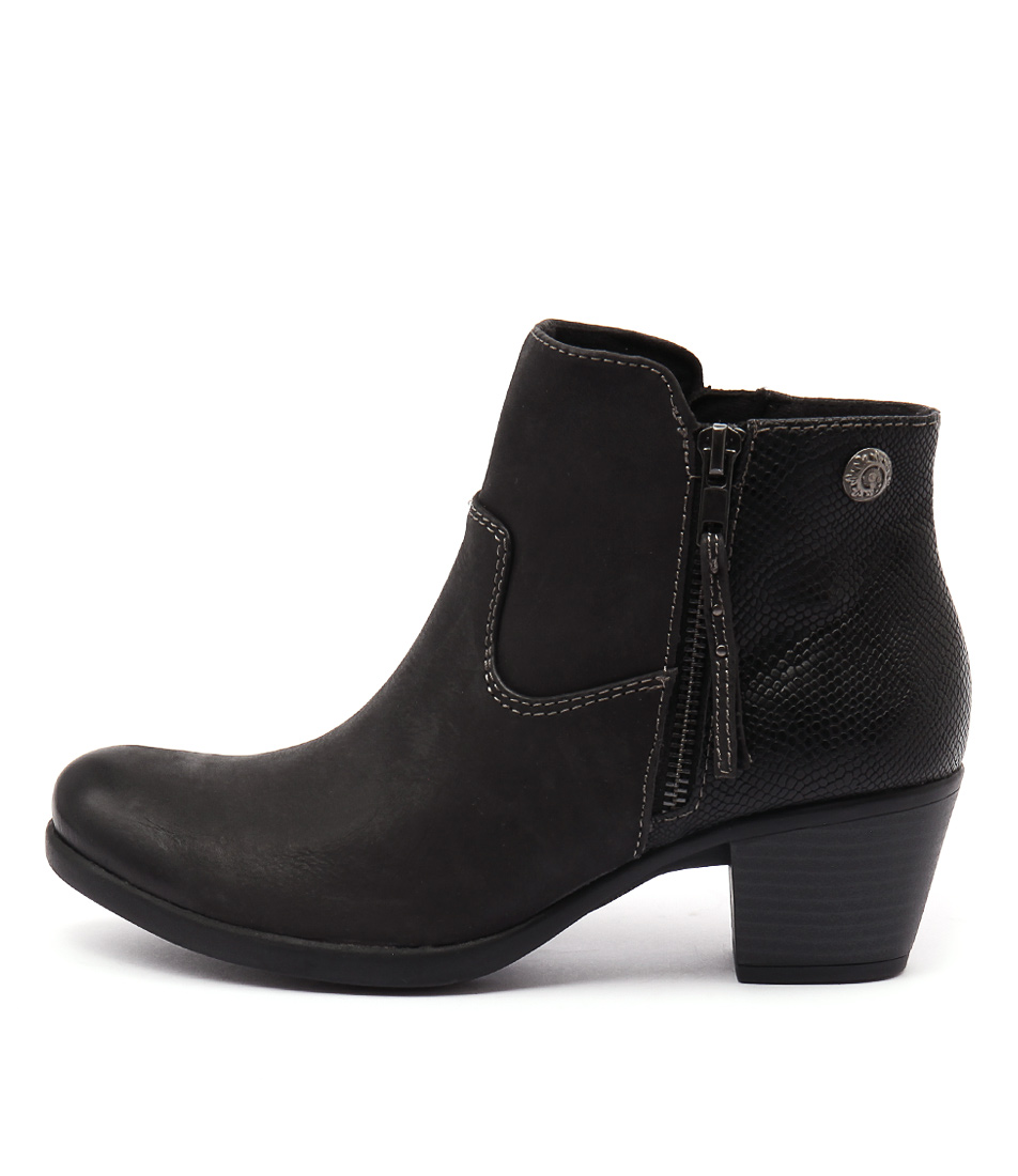 Planet Echo Black Casual Ankle Boots