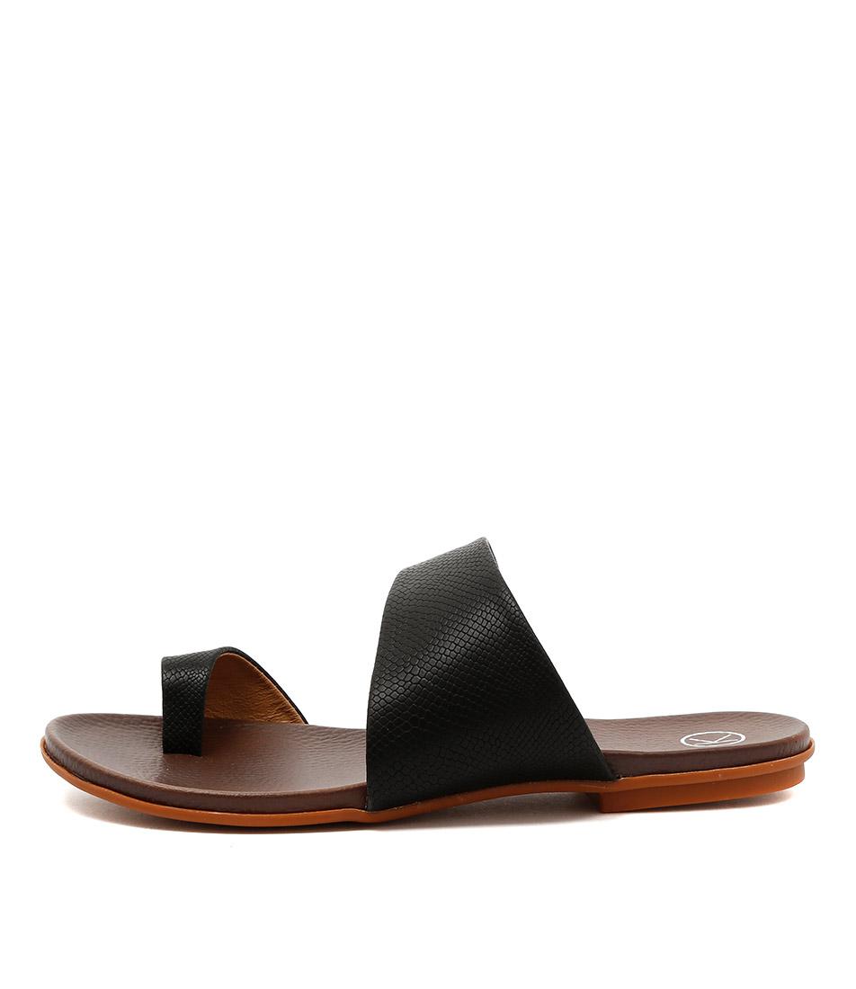Ko Fashion Reno W Black Flat Sandals