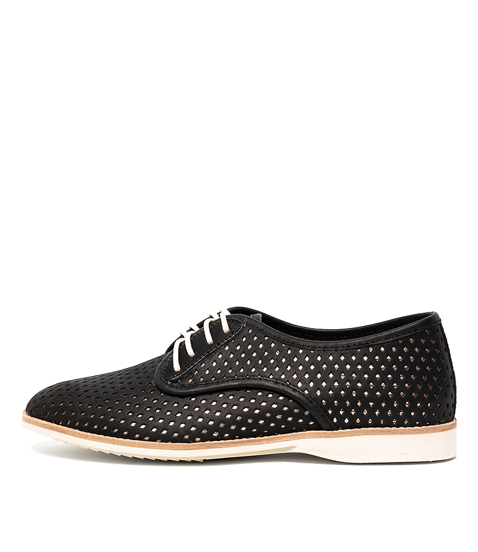 Buy Rollie Derby Punch Overlay Black Rose Gold Flats online with free shipping