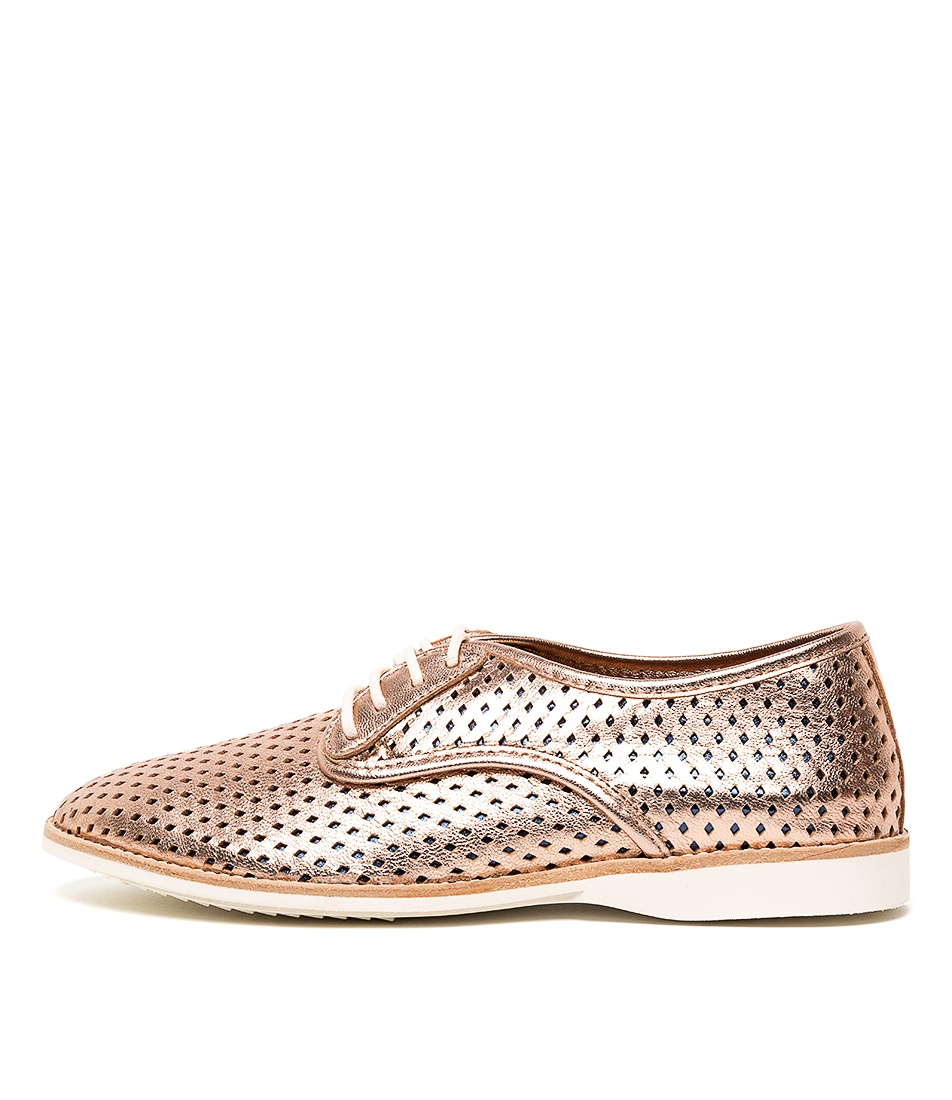 Buy Rollie Derby Punch Overlay Rose Gold Navy Flats online with free shipping