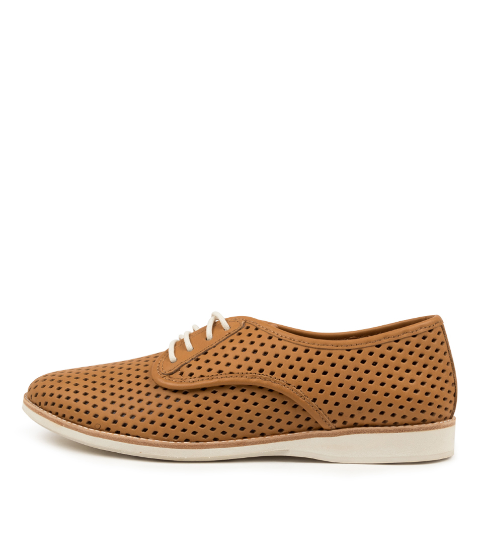 Buy Rollie Derby Punch Overlay Tan Black Flats online with free shipping