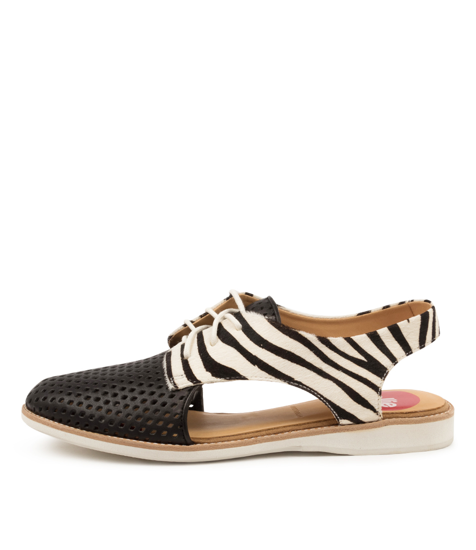 Buy Rollie Slingback Punch X Black Zebra Flats online with free shipping