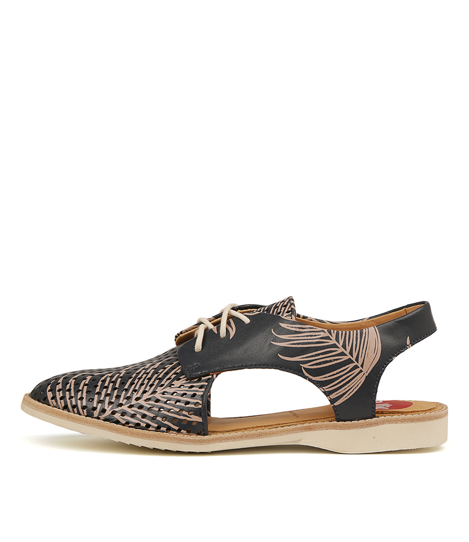 Buy Rollie Slingback Punch X Navy Pink Palm Flats online with free shipping