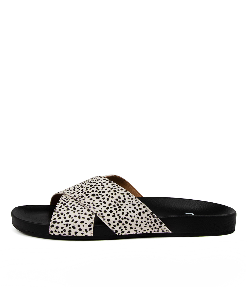 Buy Rollie Tide Cross Slide Pony Rl Snow Leopard Flat Sandals online with free shipping