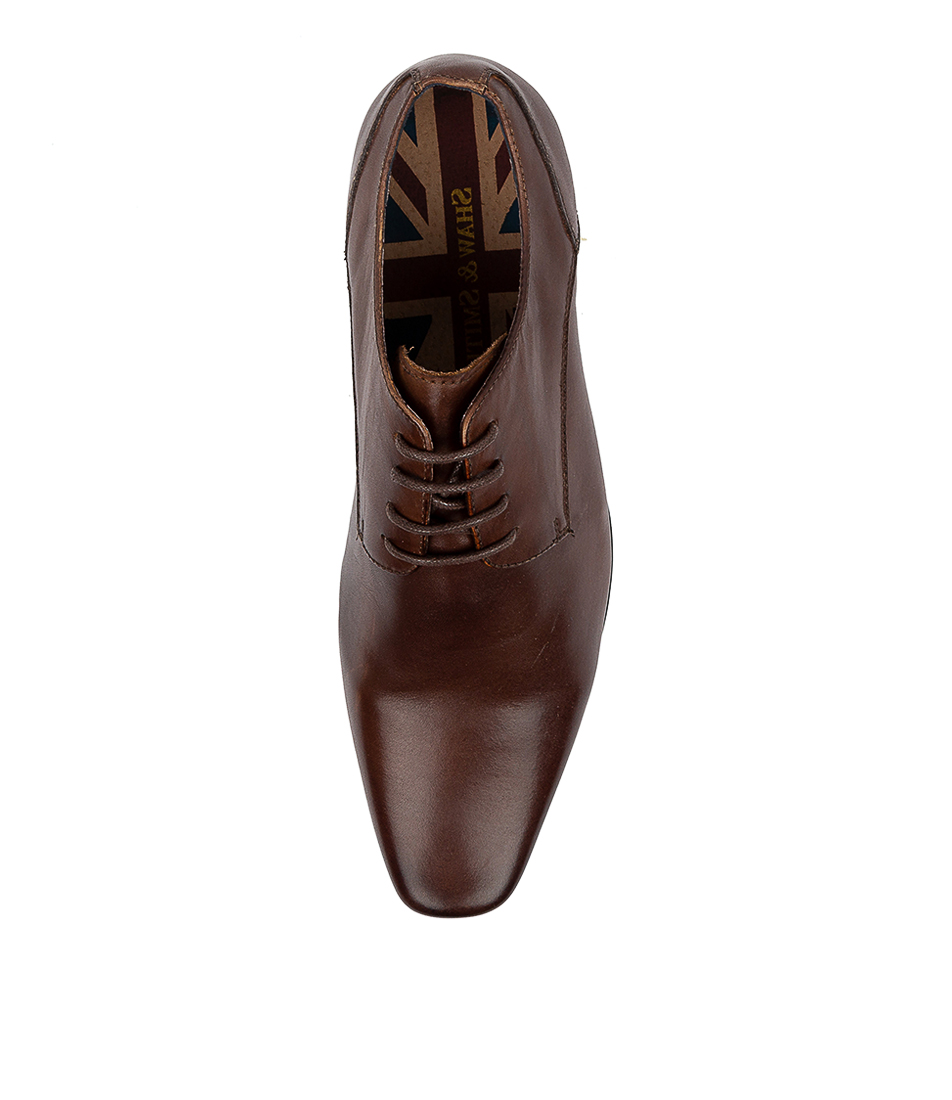 New Shaw And Smith Wrath Cognac Leather Mens Shoes Dress Shoes Flat