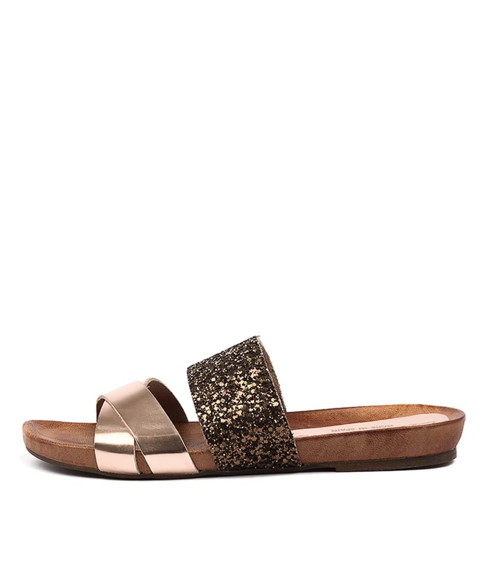 Sofia Cruz Macina Cipria Glitter Casual Flat Sandals