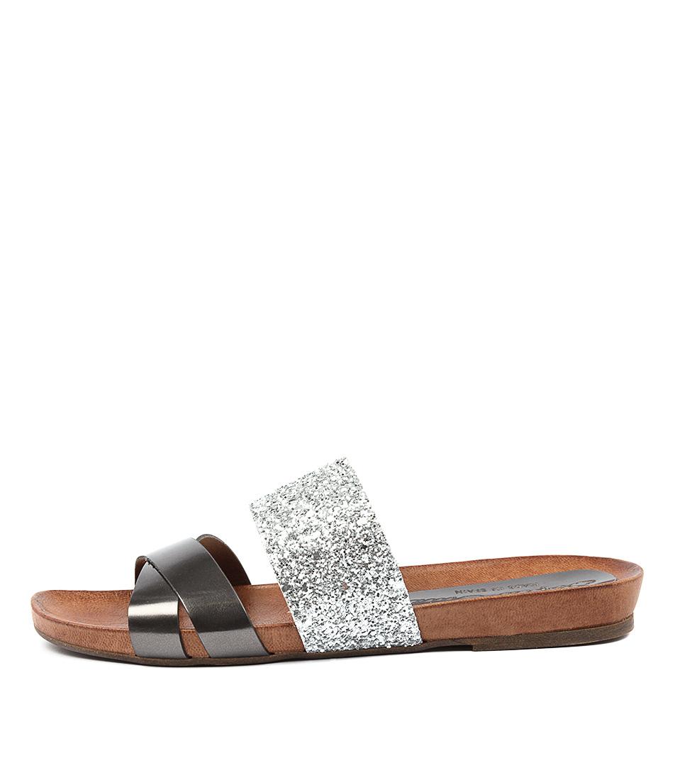 Photo of Sofia Cruz Macina Aciaio GlitterFlat Sandals womens shoes