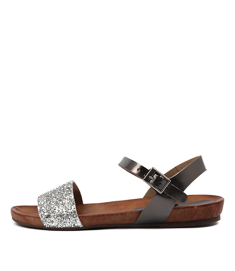 Sofia Cruz Madonna Aciaio Glitter Casual Flat Sandals