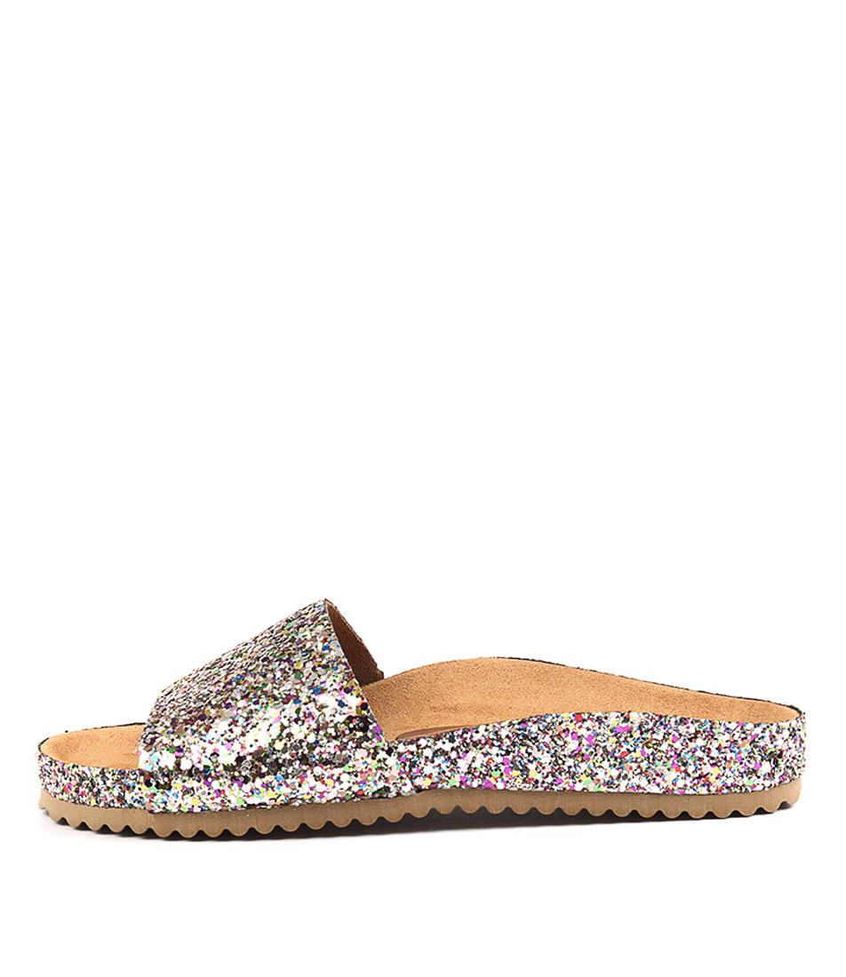 Sofia Cruz Yahtzina Glitter Multi Flat Sandals