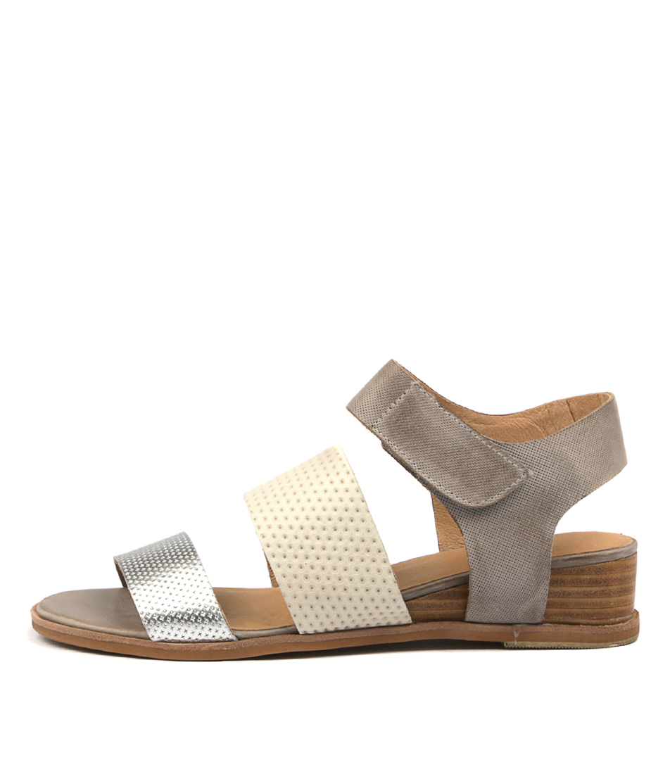 Silent D Gismo Silver Off White Misty Sandals