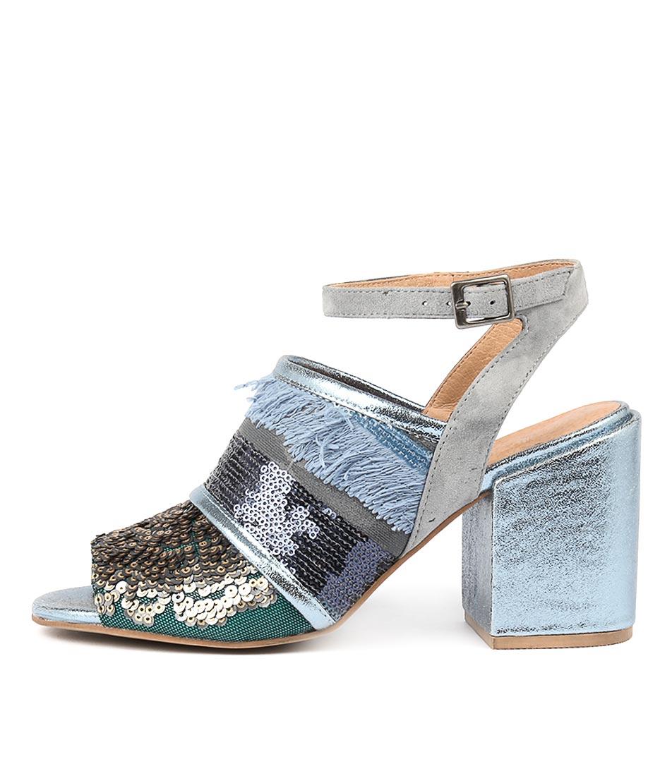Silent D Kasha Mid Blue Heeled Sandals