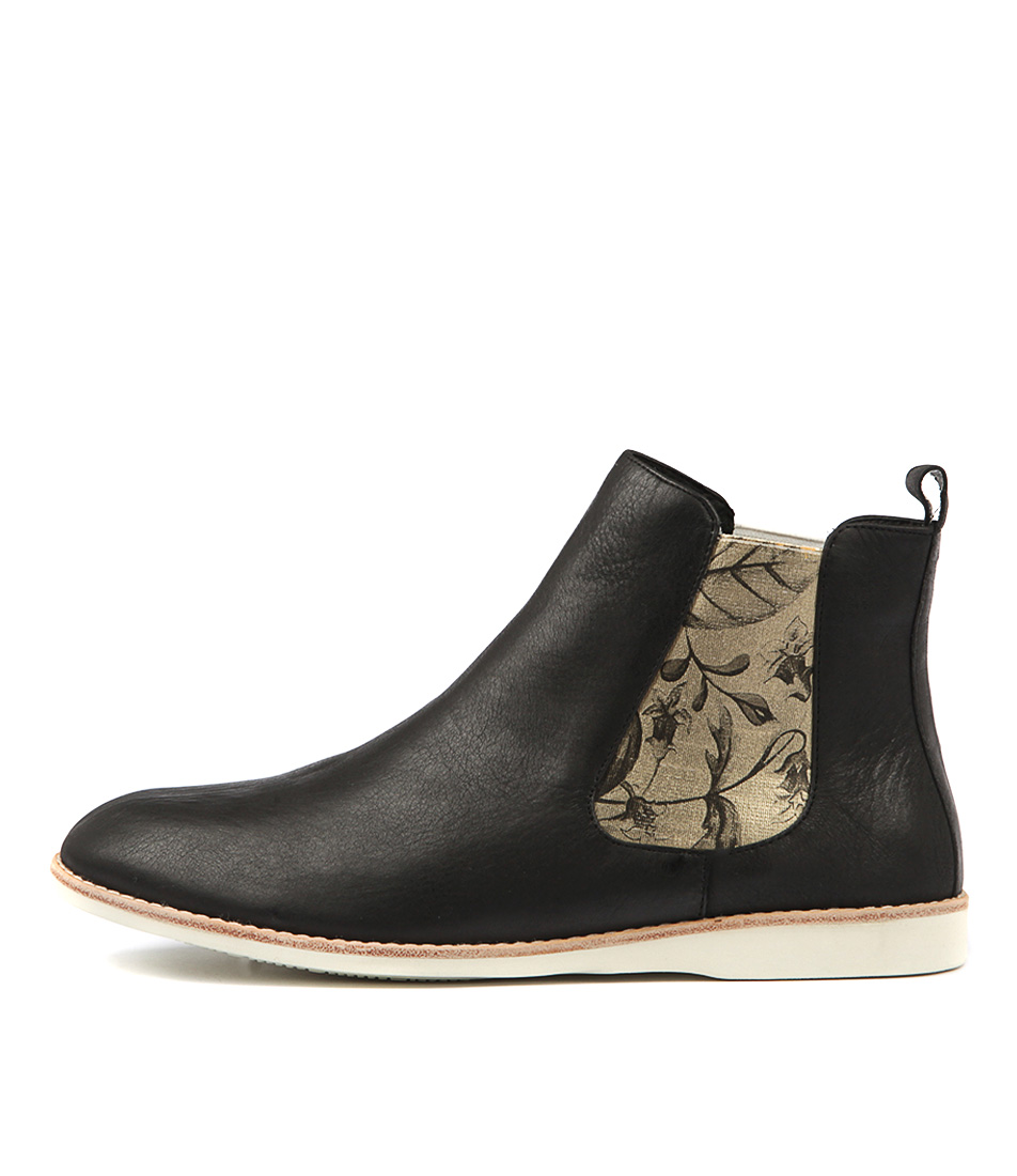 Silent D Nearly Black Gold Flor Ankle Boots
