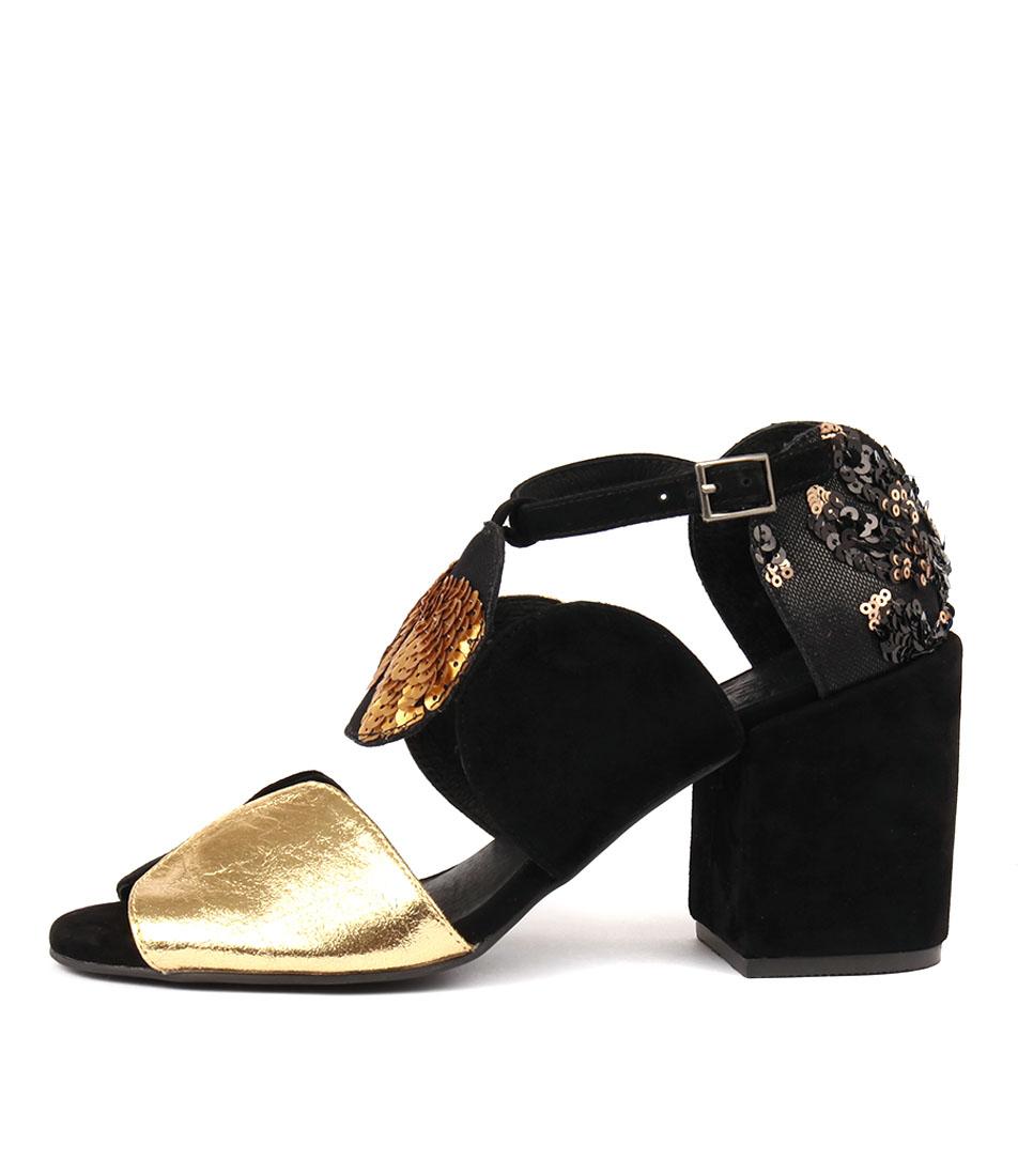 Silent D Kelly Black & Gold Heeled Sandals