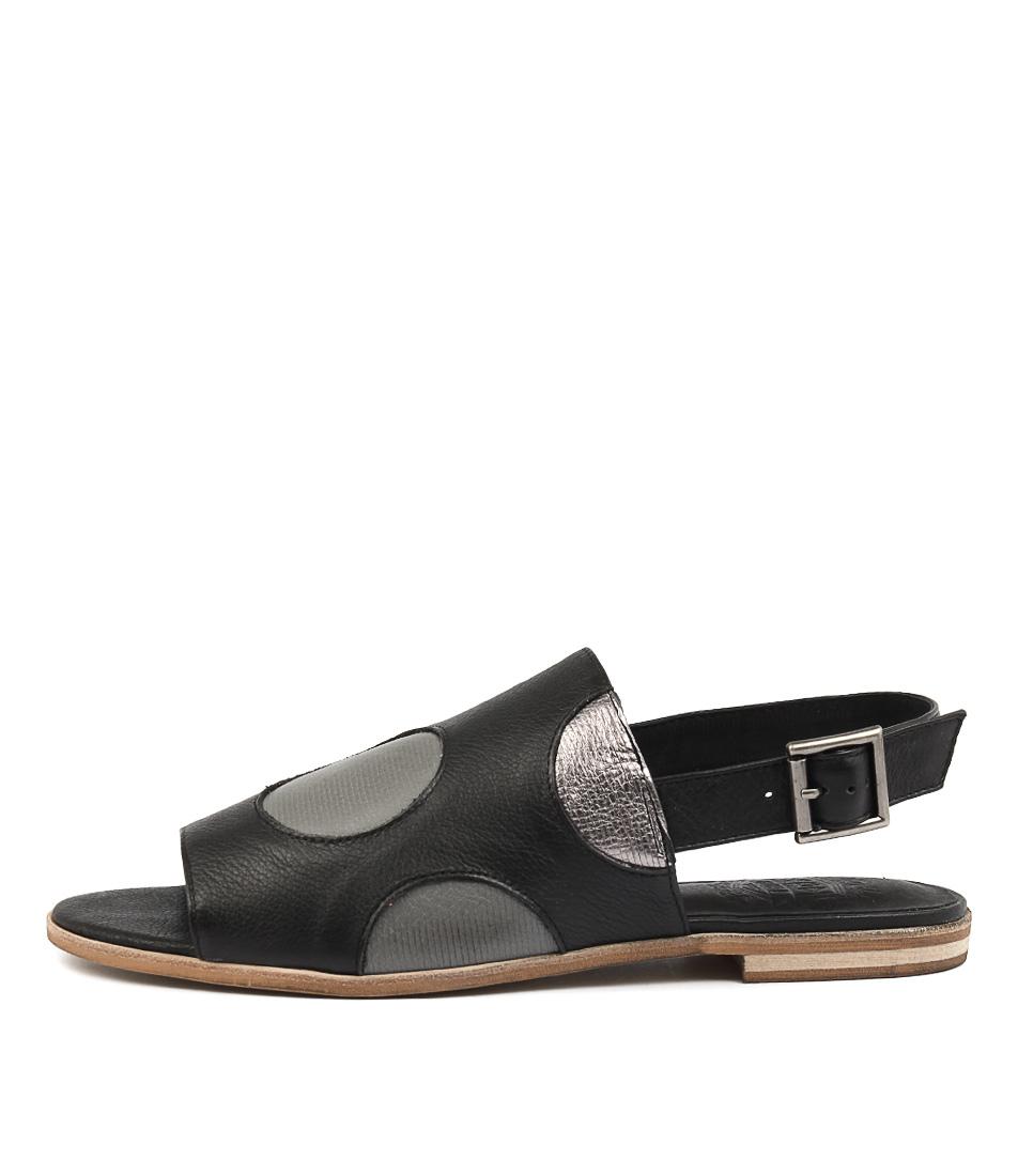 Silent D Mouth Black Multi Flat Sandals