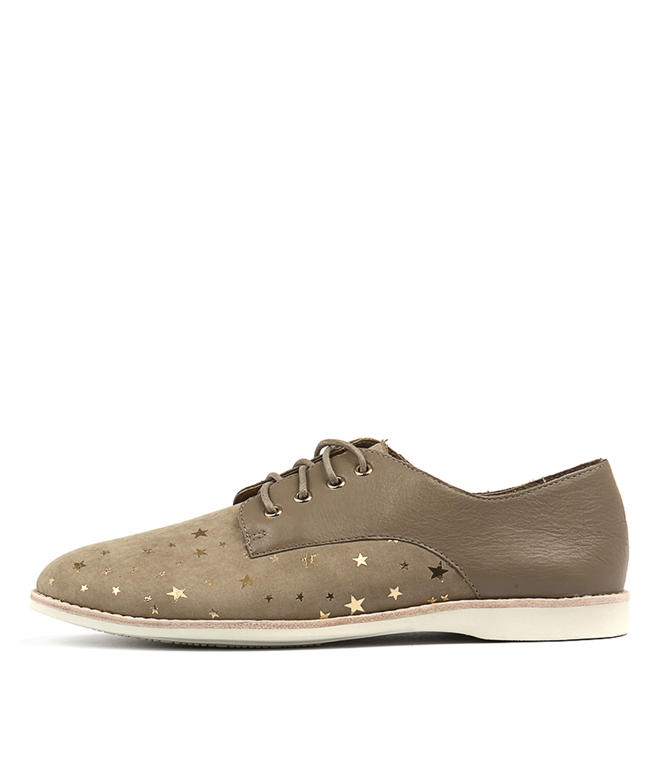 Silent D Nolla Taupe & Gold Star Flat Shoes