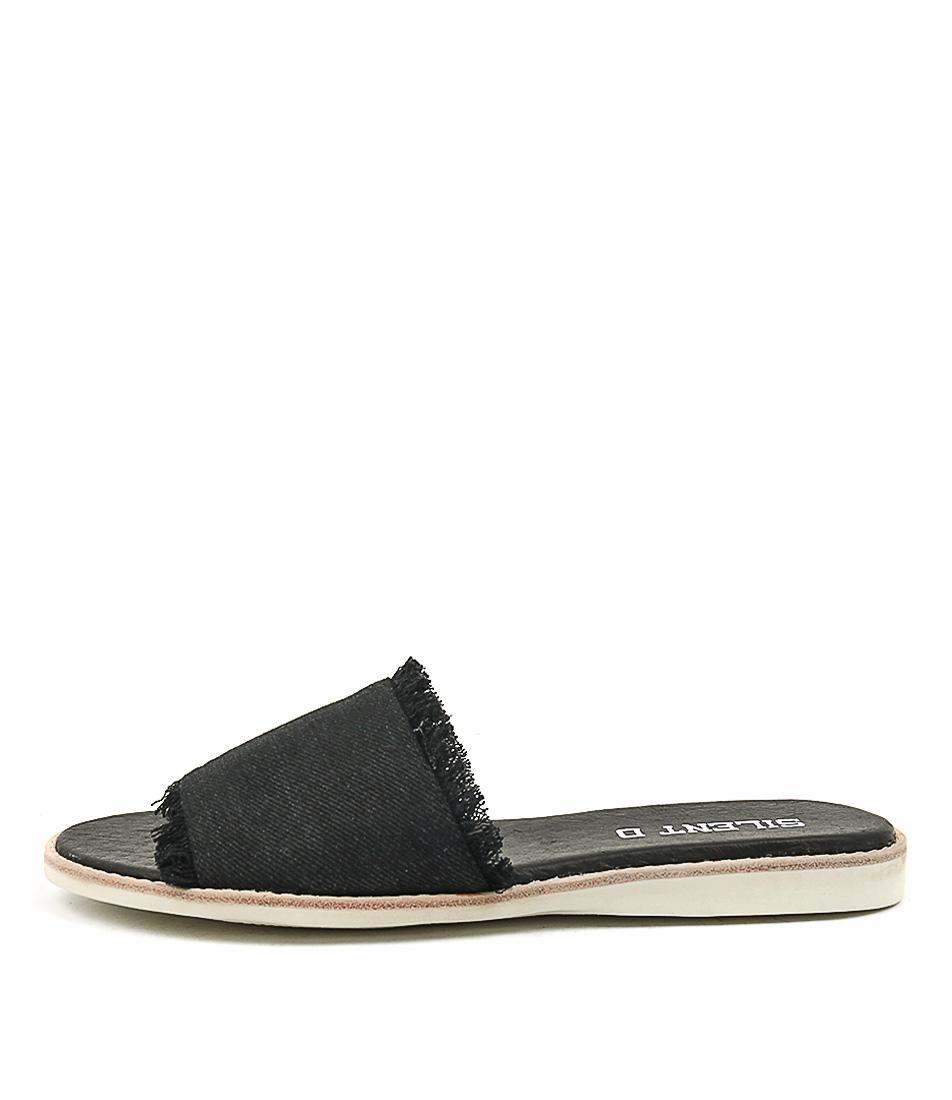 Silent D Reel Black Denim Sandals