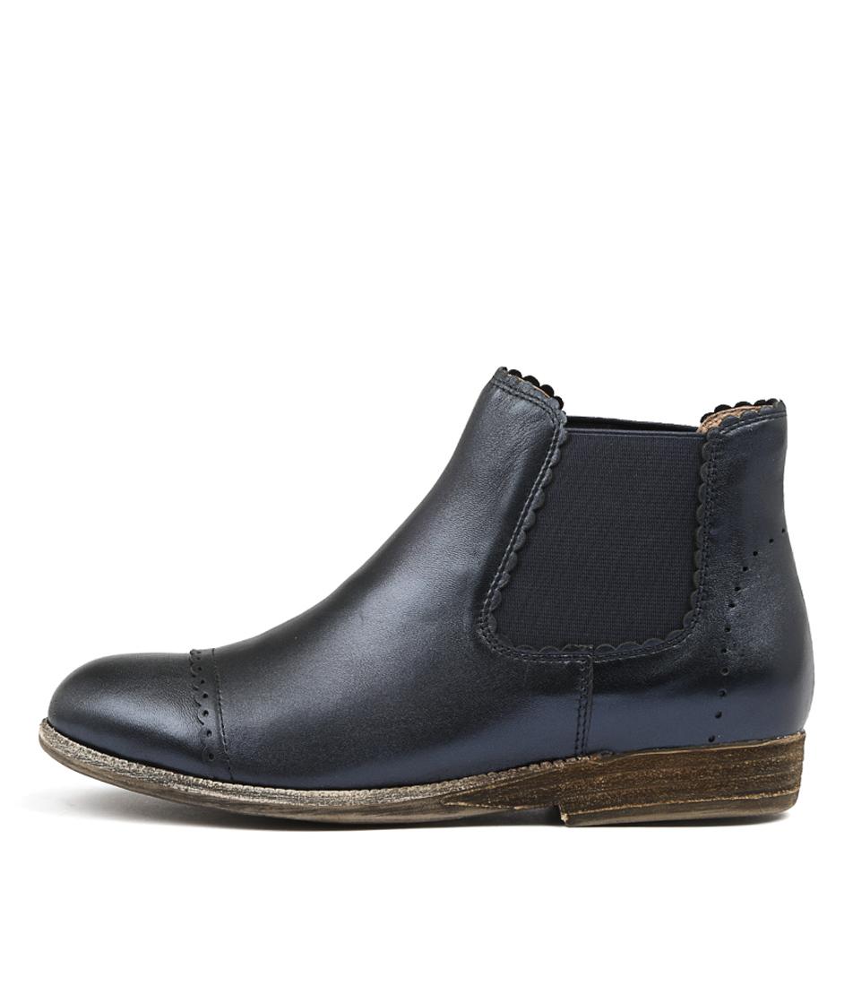 Silent D Arand Navy Metallic Ankle Boots
