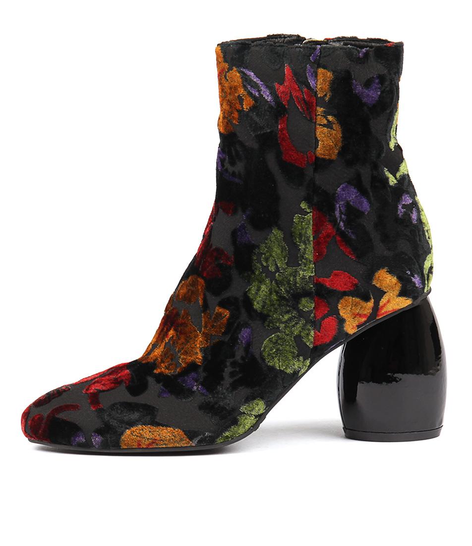 Silent D Dennyz Floral Black Ankle Boots