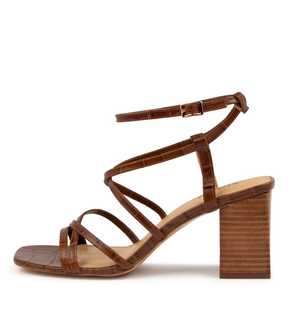 Buy Siren Kendrix Si Tan Croc Heeled Sandals online with free shipping