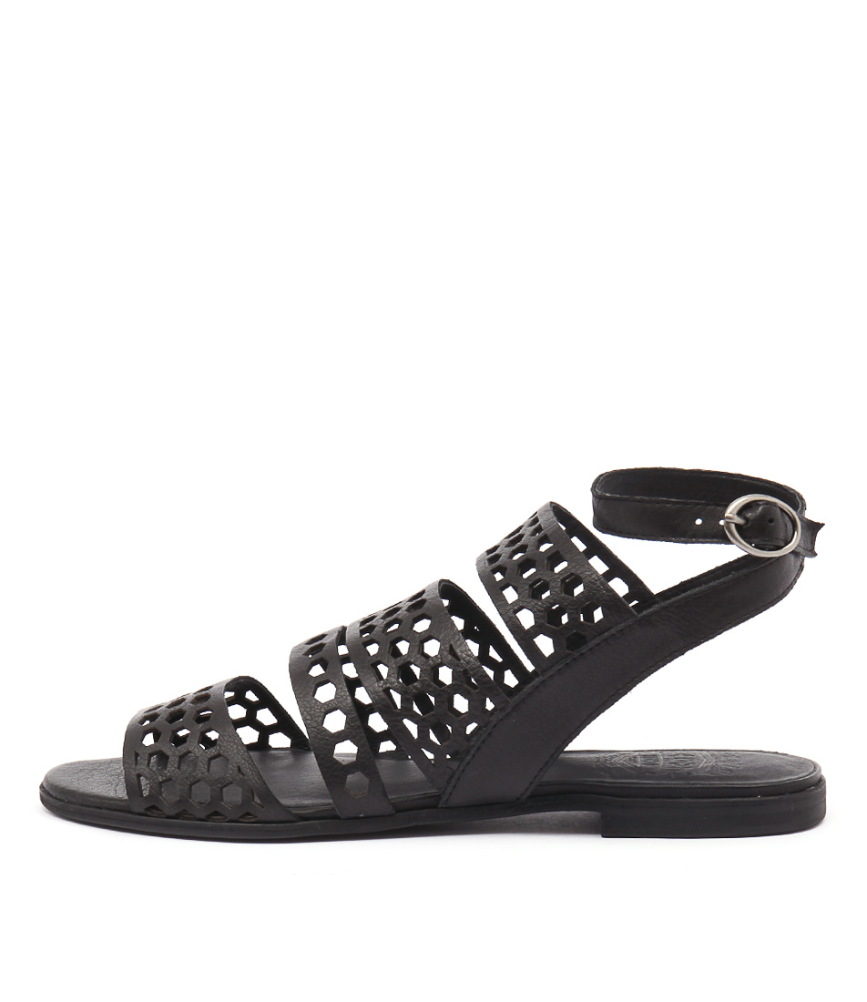 Silent D Monza Black Casual Flat Sandals