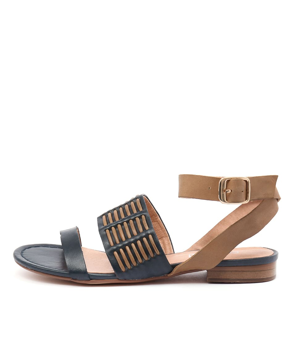 Silent D Quanda Navy Tan Casual Flat Sandals
