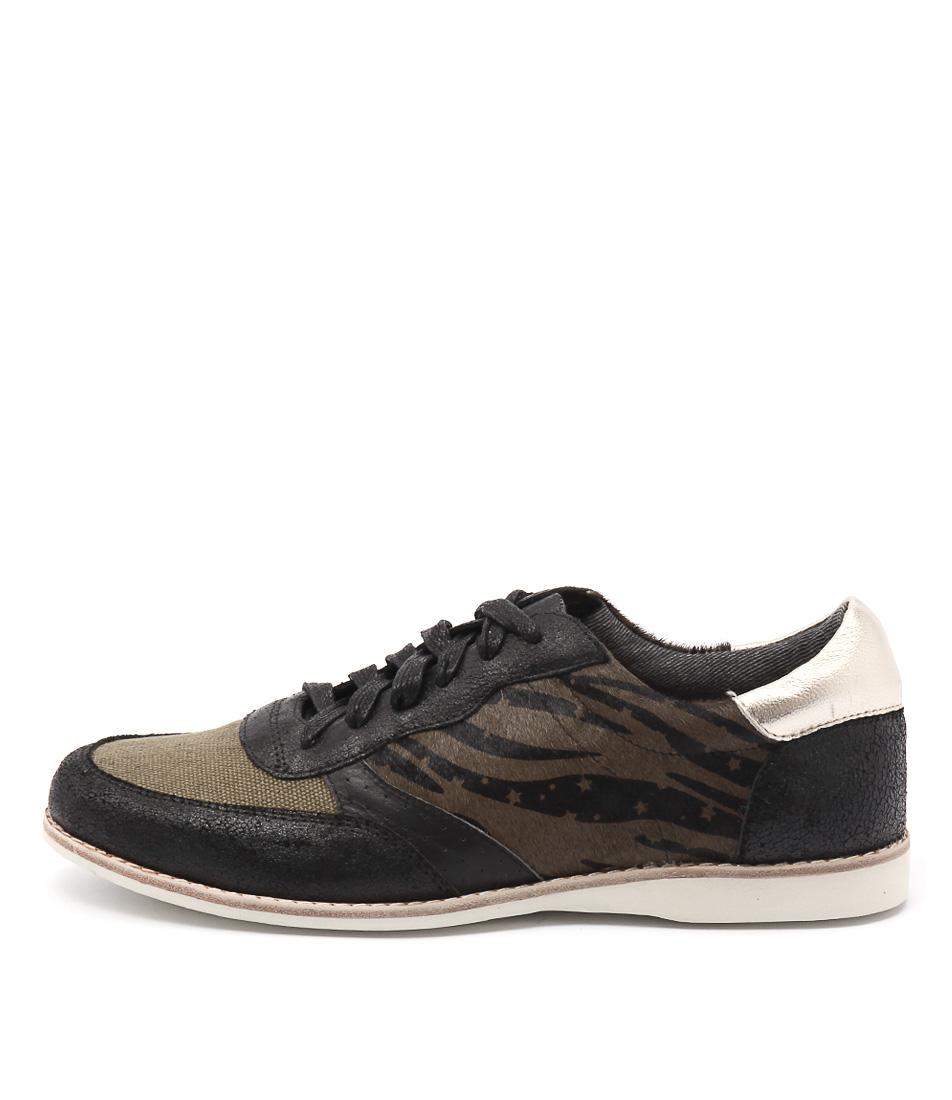 Silent D Ranita Black & Khaki Sneakers