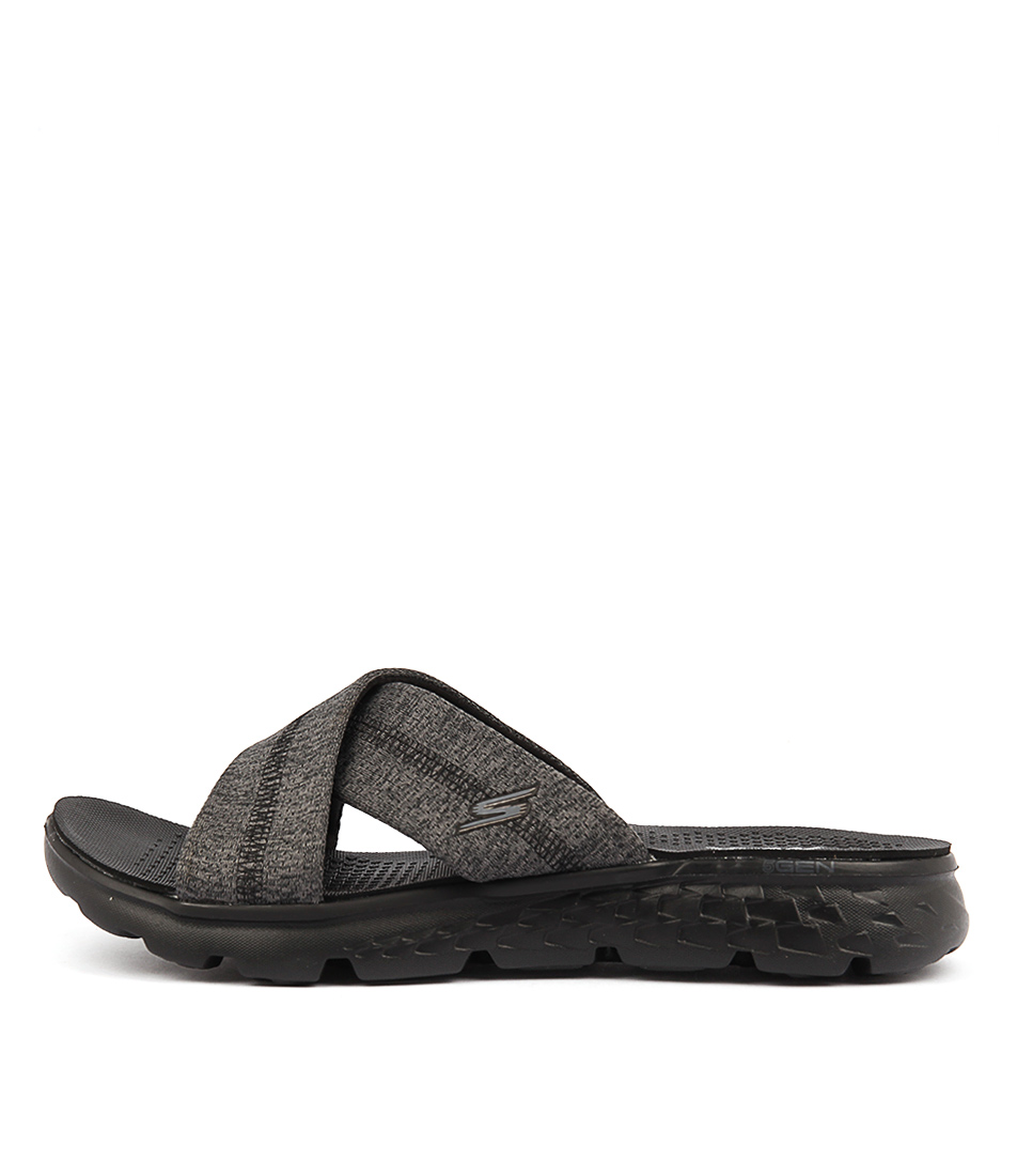 Skechers 14665 On The Go 400 Blissful Black Grey Casual Flat Sandals