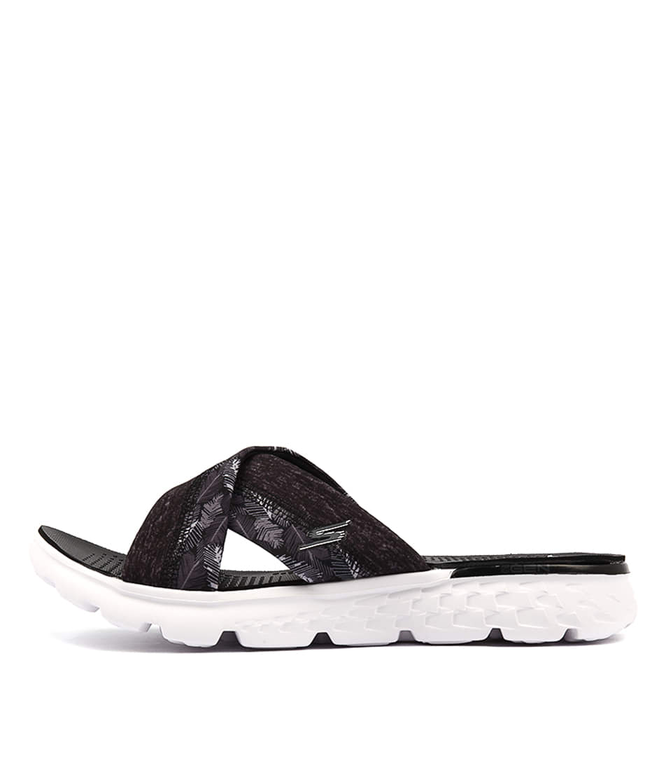 Skechers 14667 On The Go Tropical Black White Casual Flat Sandals