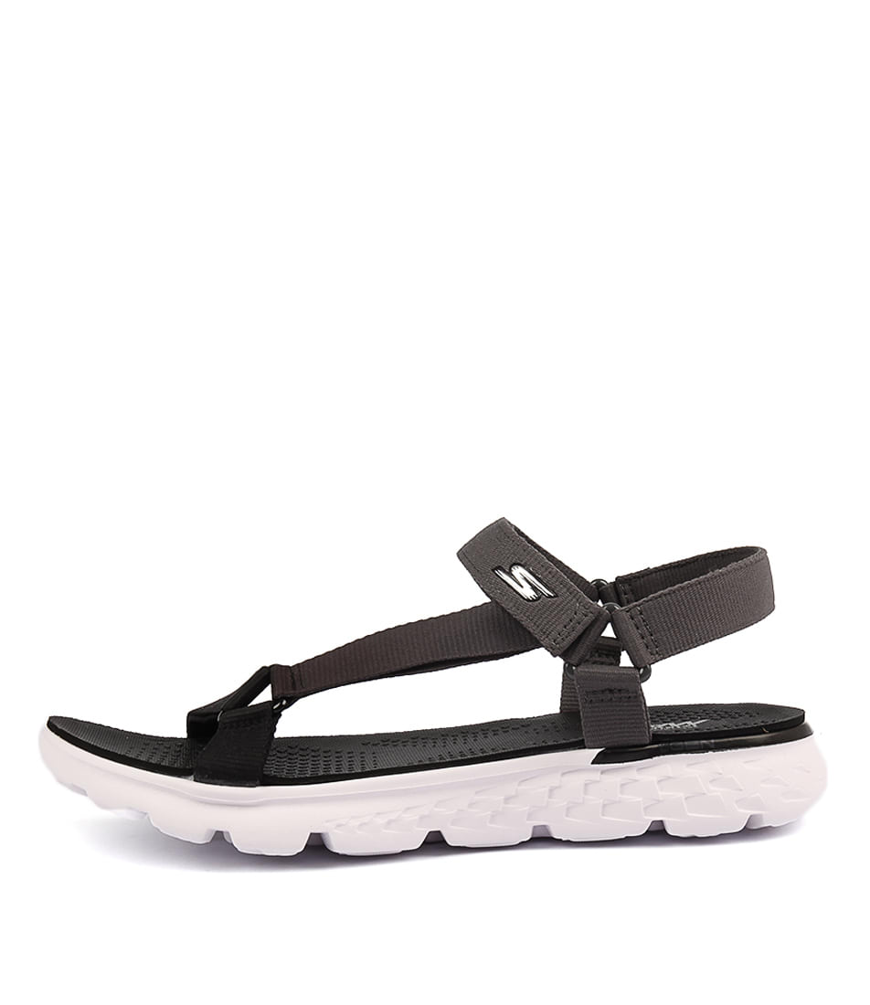 Skechers 14677 On The Go Jazzy Black Grey Casual Flat Sandals