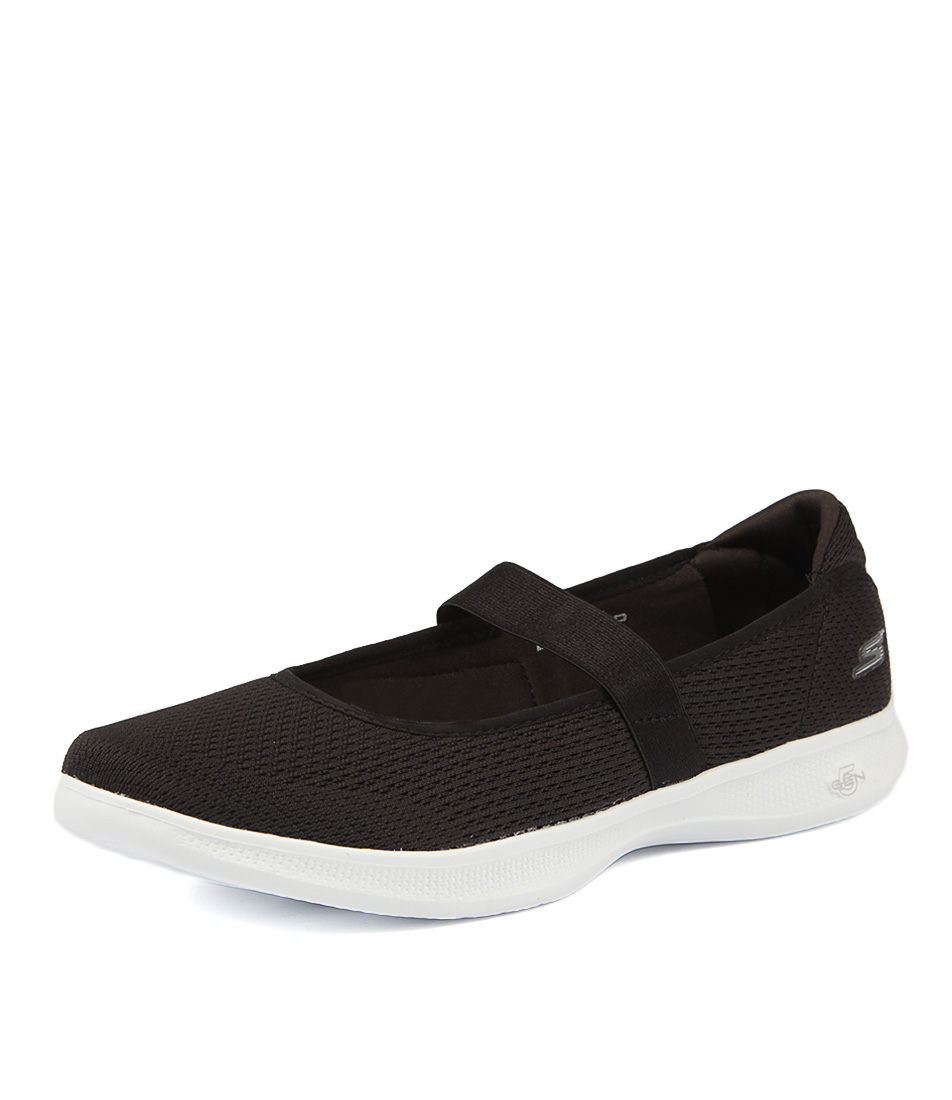 Skechers 14482 Go Step Lite Blooming Black White Active Flats