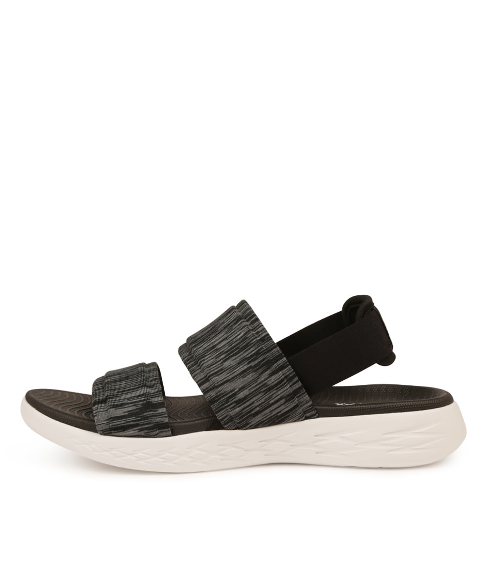 Buy Skechers On The Go 600 Foxy Black White Flat Sandals online with free shipping