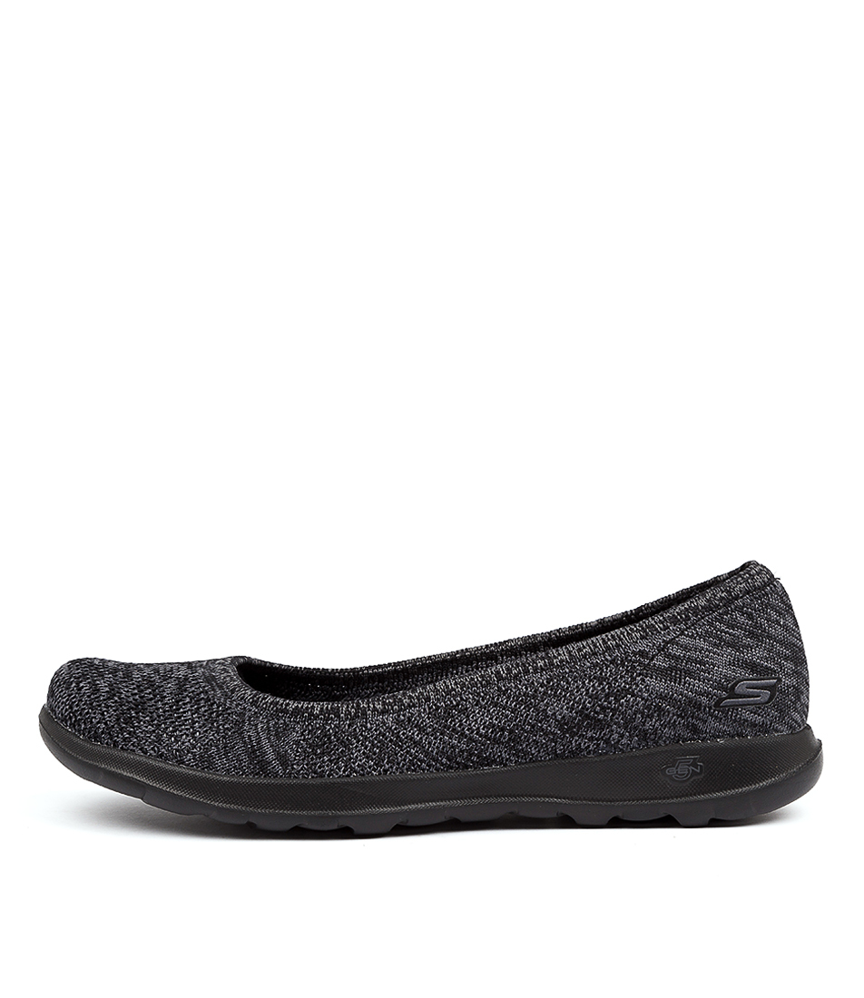 Buy Skechers 16352 Go Walk Lite Black Grey Flats online with free shipping