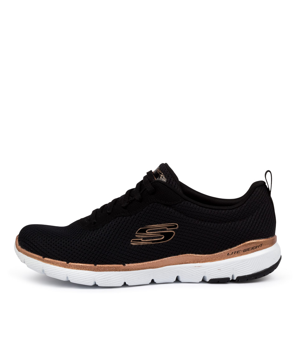 Buy Skechers 13070 Flex Appeal 3 First Black Gold Sneakers online with free shipping