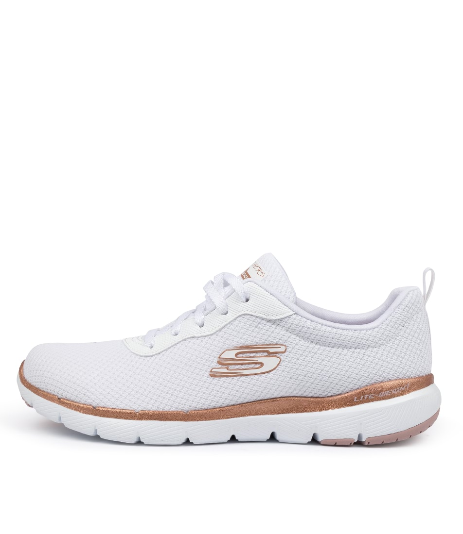 Buy Skechers 13070 Flex Appeal 3 First White Gold Sneakers online with free shipping
