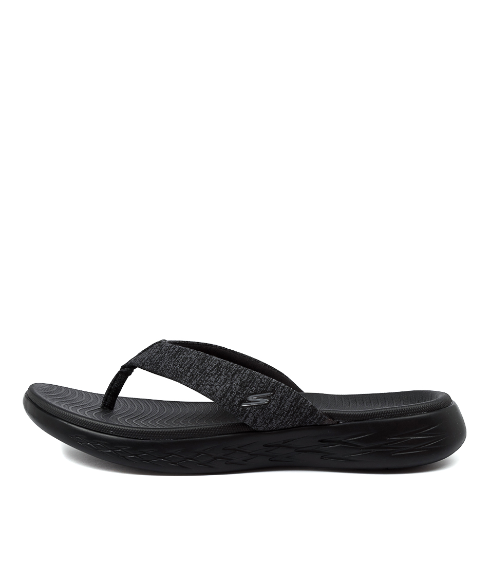 Buy Skechers 15304 On The Go Preferred Black Flat Sandals online with free shipping