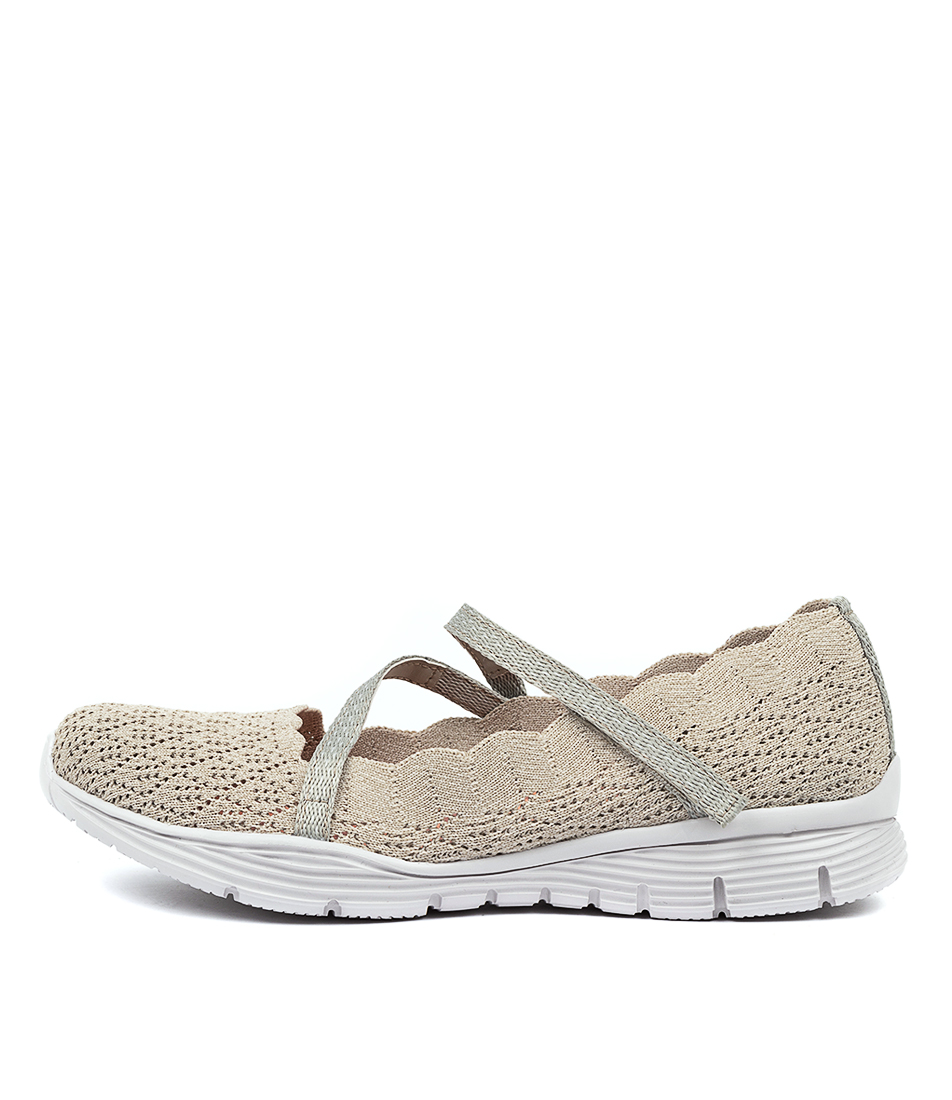 Buy Skechers 49624 Seager Strike Out Natural Flats online with free shipping