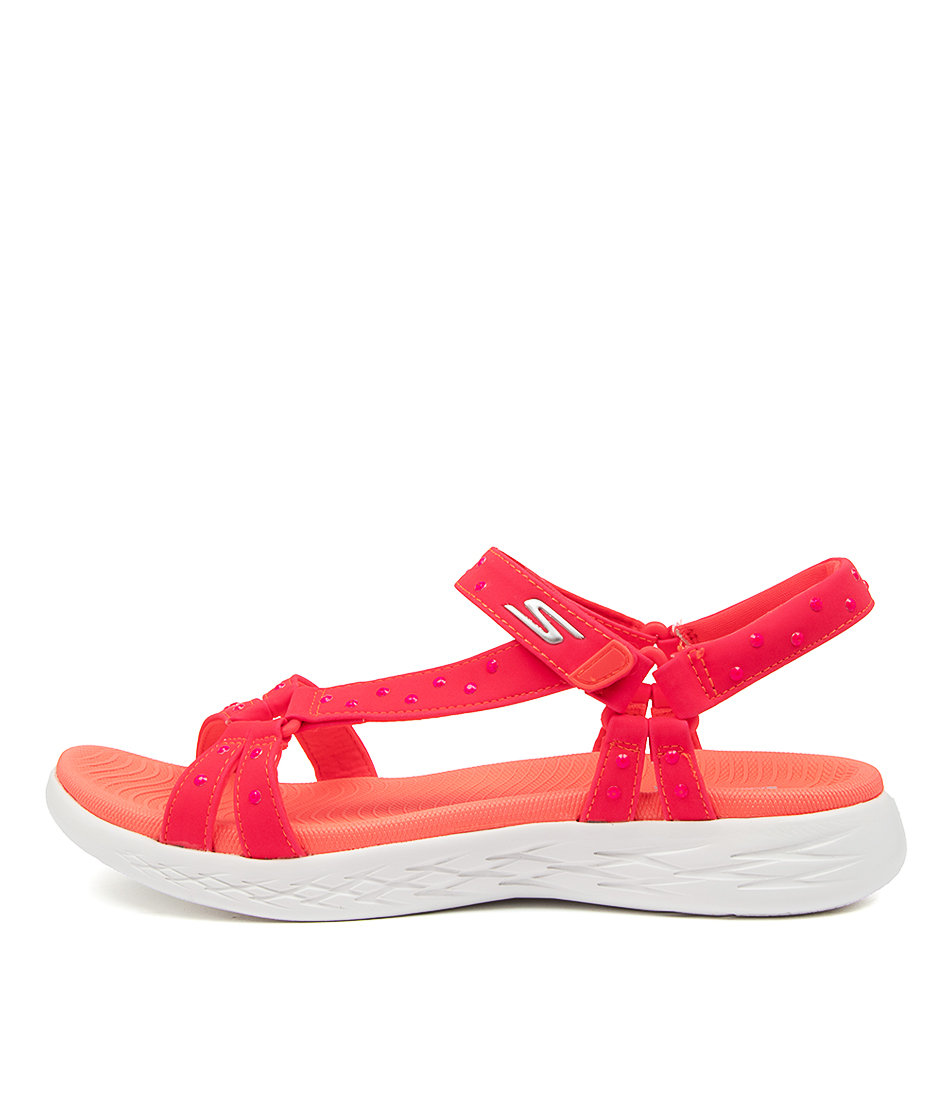 Buy Skechers On The Go 600 Luminous Neon Pink Flat Sandals online with free shipping