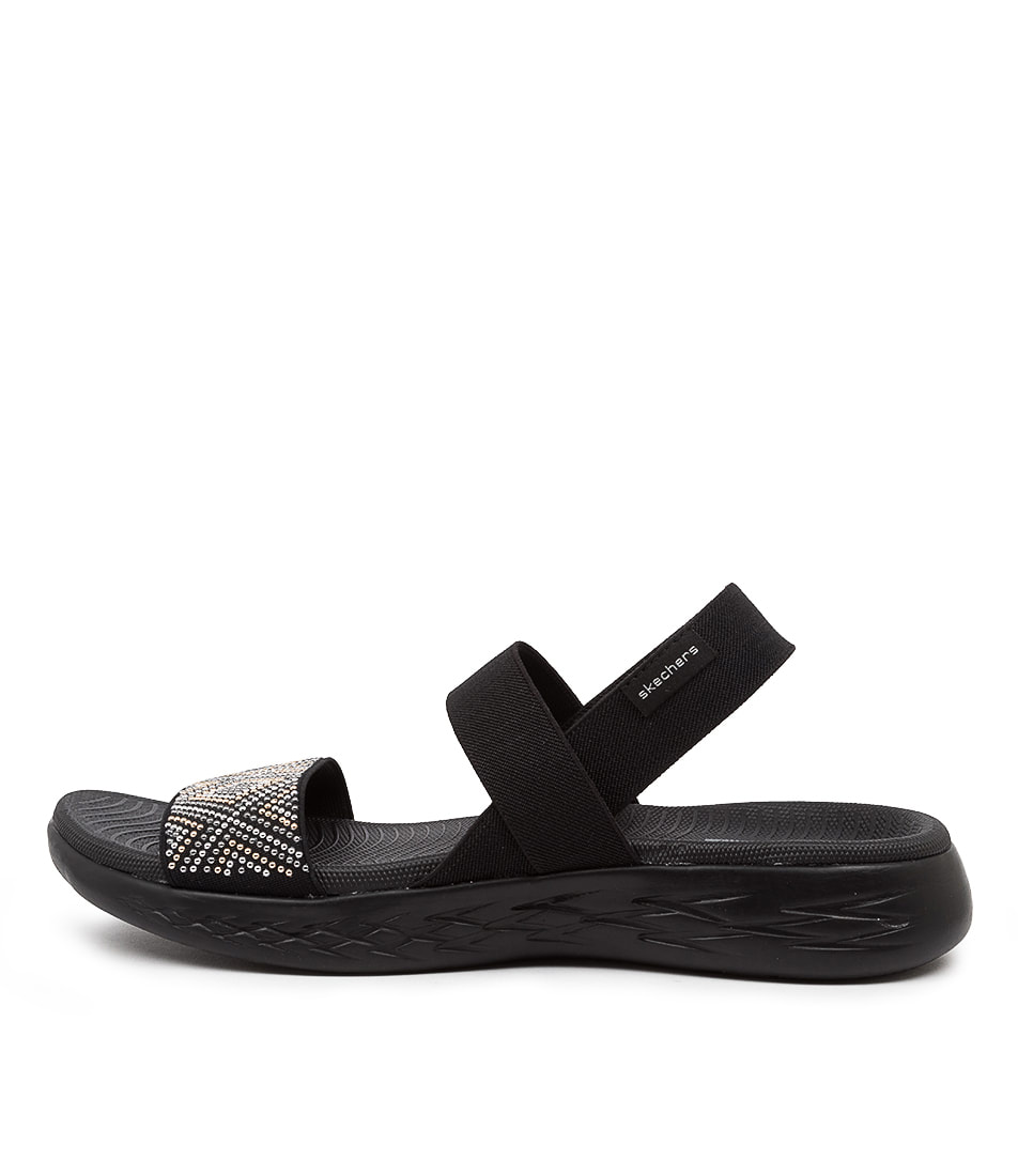 Buy Skechers 16311 On The Go 600 Glitzy Sk Black Flat Sandals online with free shipping