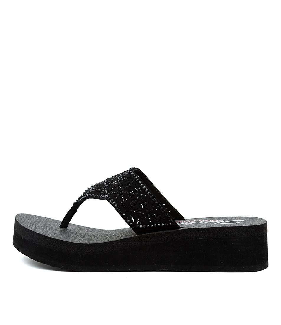Buy Skechers 31611 Vinyasa Glass Star Sk Black Heeled Sandals online with free shipping