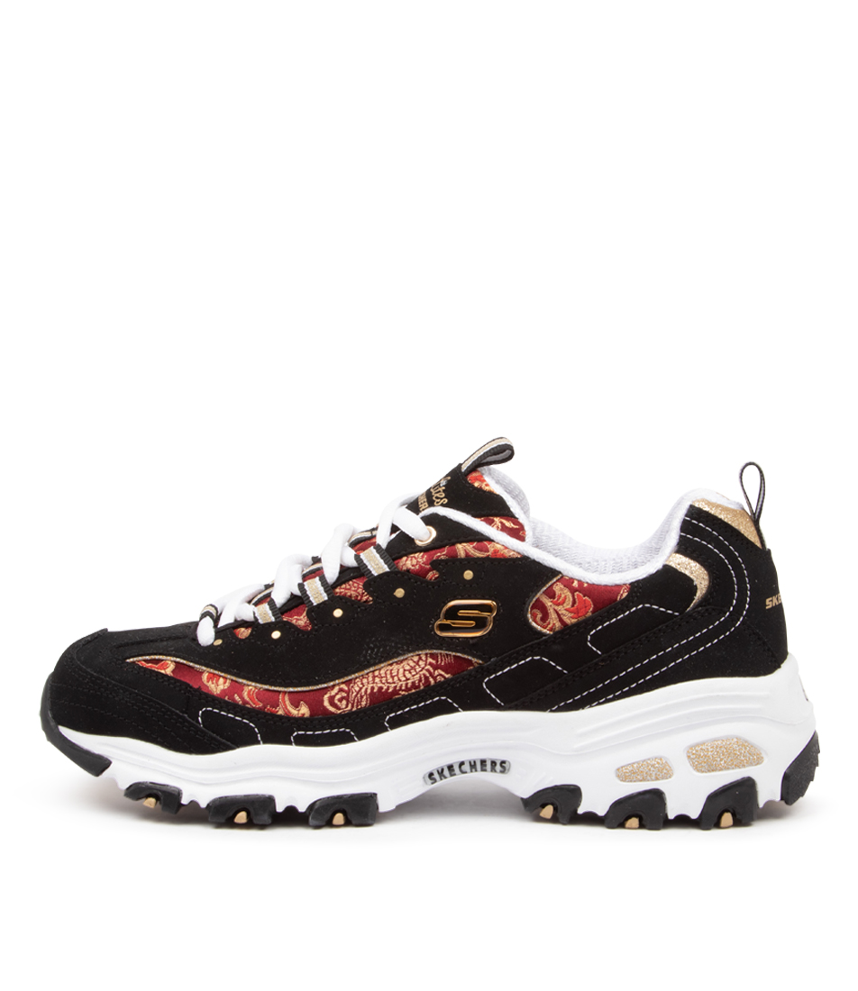 Buy Skechers 13091 D'lites Orient Night Sk Black Red Sneakers online with free shipping