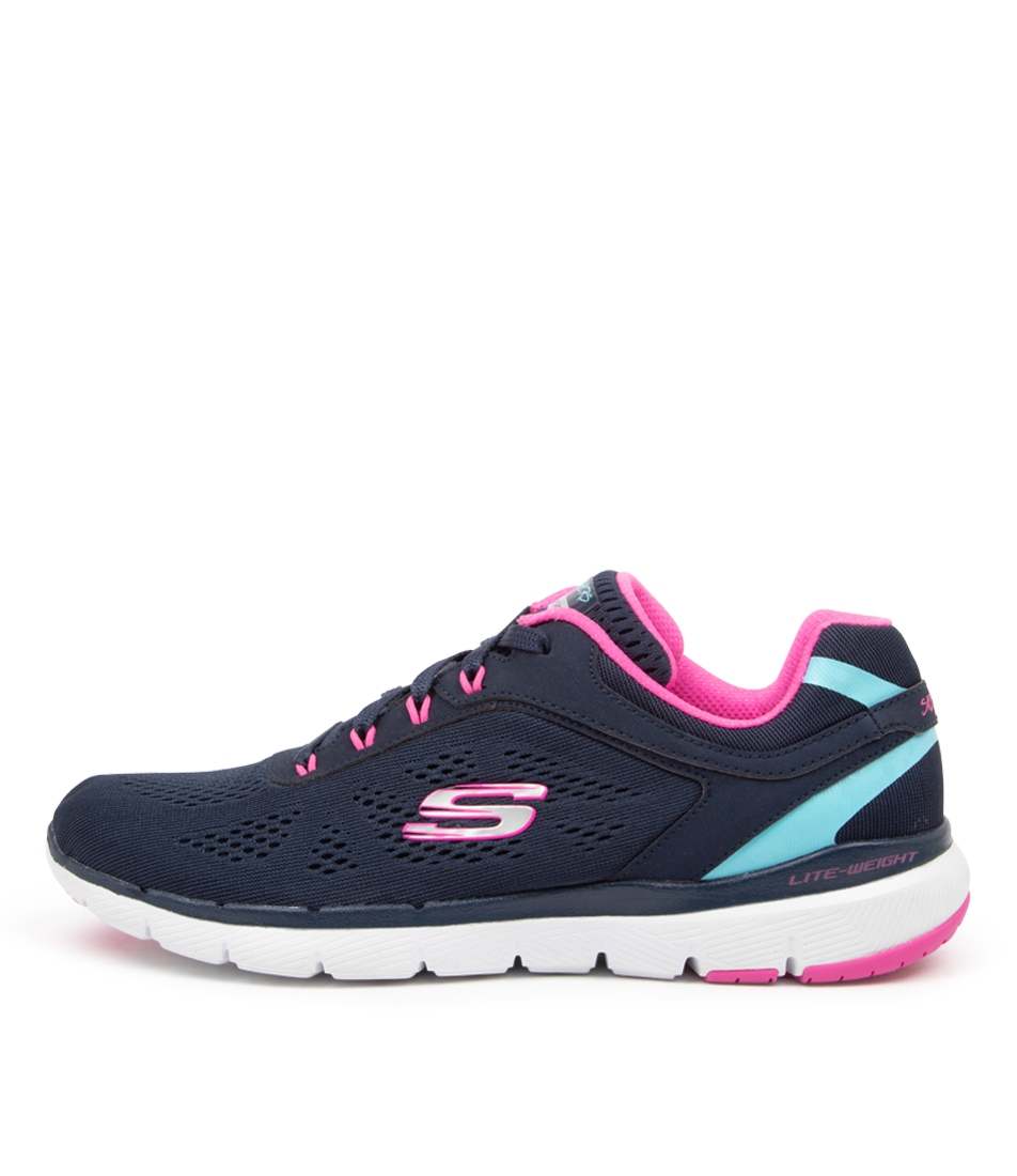 Buy Skechers 13474 Flex Appeal 3.0 Sk Navy Hot Pink Sneakers online with free shipping