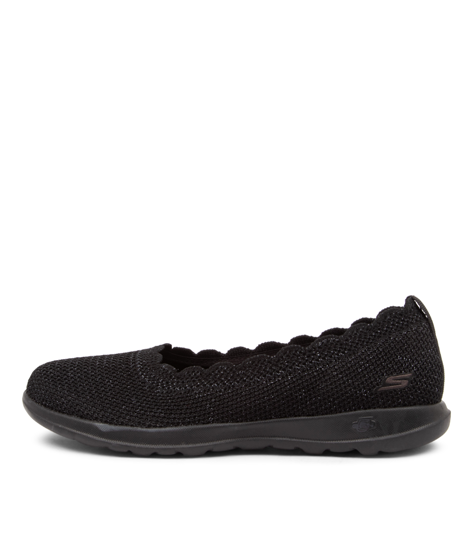 Buy Skechers 16391 Go Walk Lite Glitz Sk Black Flats online with free shipping